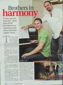 "Article in You magazine entitled ""Brothers in Harmony"""